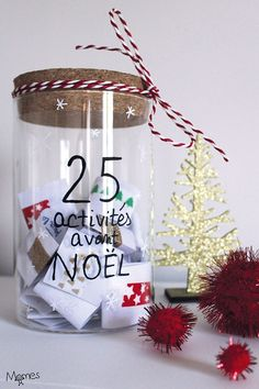 Here is a great idea for an Advent calendar to wait before Christmas: 25 family activities! Each day, we draw together a Christmas recipe, a super DIY, an idea for decorating a party, an outing or a game in family … Des i Christmas Is Coming, Christmas Time, Christmas Crafts, Christmas Decorations, Christmas Ornaments, Holiday, Mery Crismas, Christmas Tree Wallpaper, Home Decoracion