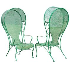 hollywood regency patio chair | Pair of Woodard Hollywood Regency Hooded Wrought Iron Arm Chairs-.xx ...