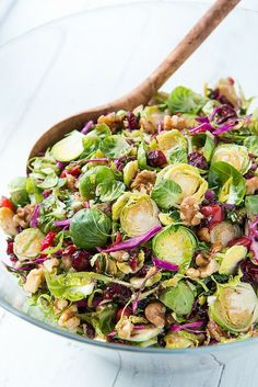 Brussels Sprout Slaw with Cherries and Walnuts