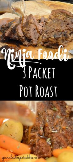 Ninja Foodi 3 Packet Pot Roast Grab that Ninja Foodi and make this hearty 3 Packet Pot Roast for your weeknight dinner this week! A beef pot roast that is loaded with flavor and only requires a handful of ingredients. Pin for Later! Chuck Roast Recipes, Pot Roast Recipes, Grilling Recipes, Beef Recipes, Healthy Recipes, Game Recipes, Chicken Recipes, Healthy Food, Recipies