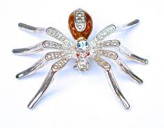 "Vintage Rhinestone Spider Brooch Jewelry Pin Amber Enamel Silver Plate Blue Crystal 2"" x 1.4"" Excellant NO Tarnish!"