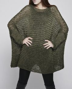 Must make!!!  OVERSIZED Woman sweater/ Knit sweater in Dark Fall Green