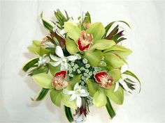 Green Cymbidium Orchids with White Dendronbium Orchid accents.