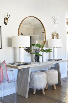 zdesign at home spring tour rustic modern console table fur stools white marble lamps round gold mirror philedendron branches in globally inspired vases black Entryway Console Table, Modern Console Tables, Entryway Decor, Entryway Ideas, Marble Console Table, Design Rustique, Marble Lamp, Diy Home Decor, Room Decor