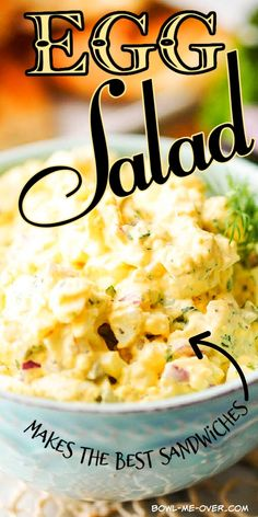 Look no further, this is the Best Egg Salad Sandwich Recipe ever! It is easy to make, delicious and creamy with a hint of tangy Dijon mustard. Egg salad is the ultimate in comfort food, packed with fresh herbs and a squeeze of lemon. Makes the BEST Sandwiches!! #howtomake #dinnerideasfortonight #bowlmeover#eggsalad #eggsaladsandwich Easy Sandwich Recipes, Best Sandwich, Egg Recipes, Salad Recipes, Vegetable Cake, Egg Salad Sandwiches, Food Pack, How To Make Salad, Side Dishes Easy