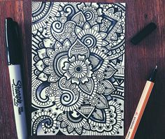 Needed to go back to some black and white doodles #zentangle#black#white#sharpies
