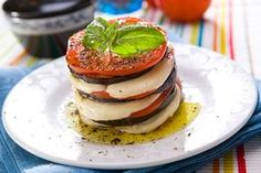 Eggplant, Tomato, And Mozzarella Stacks - Traeger Grill Traeger Recipes, Grilling Recipes, Healthy Snacks, Healthy Recipes, Yummy Recipes, Mozzarella Sticks, Salad Bar, Creative Food, Koken