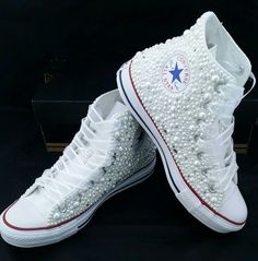 Pearls & Bling- Bridal Custom Converse- Pearls- Crystals- Wedding Chuck Taylor A. Pearls & Bling- Bridal Custom Converse- Pearls- Crystals- Wedding Chuck Taylor All Star Converse- High or Low Top- P Converse Wedding Shoes, Bling Converse, Wedding Sneakers, Custom Converse, Prom Shoes, Converse Sneakers, Converse High, Rhinestone Converse, Sneakers Women