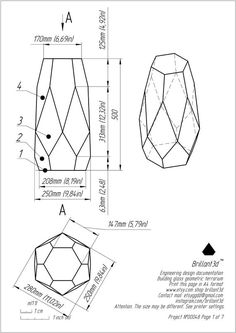 Pattern for creating a geometric stained glass vase (terarium) Tiffany style. Glass Terrarium, Glass Vase, Cut Glass, Interior Art Nouveau, Vase Design, Gold Vases, White Vases, Vase Crafts, Vase Shapes
