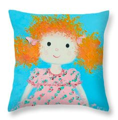 Throw pillow for little girl's room or nursery. Decorative throw pillow, cushion, nursery decor.