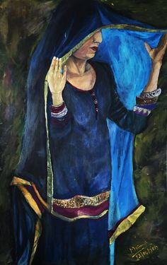 portrait of mother - acrylic on fabric - caravagio style inspired by Vinjender Sharma