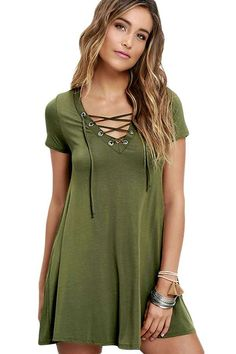 ed45002095 Army Green Casual Lace-up Swing Dress - Women s Online Store