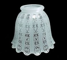 white swirl bowl ceiling fan light shade with center post and pull
