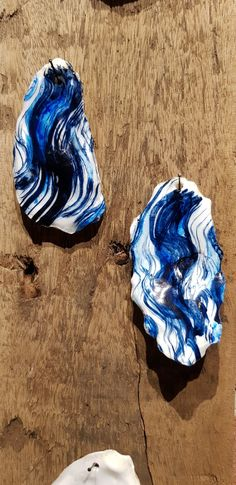 handpainted shells with abstract brushstrokes