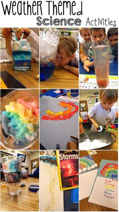 Weather themed science activities for kids. Rain in a bottle, clouds in a jar...