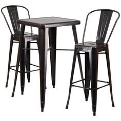 Complete your dining room, restaurant or patio with this chic bar table and chair set. This colorful set will add a retro-modern look to your home or eatery. Table features a designer top, stabilizing cross brace and protective rubber floor glides. The stylish bistro style barstools features a curved, vertical slat back. This 3 piece table set is designed for indoor and outdoor settings. For longevity, care should be taken to protect from long periods of wet weather. The possibilities are…