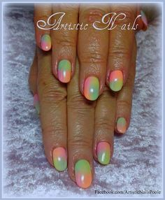#Shellac with pastel neon pigments #nailart #nails www.facebook.com/ArtisticNailsPoole
