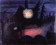 House with Lantern (Marianne von Werefkin - 1913)
