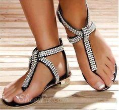 Amazing Rhinestone PU Flat Sandals