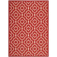 Courtyard Red/Bone (Red/Ivory) 5 ft. 3 in. x 7 ft. 7 in. Indoor/Outdoor Area Rug