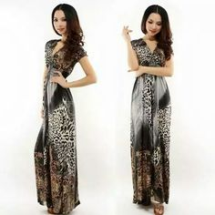 Leopard Boho maxi dress Leopard and gray color, v-neck. Dress is long and very stretchy. Polyester blend and approximately 50in long  Very comfortable and great for different occasions. Brand new in pkg/Dress has no tag but was ordered as a Med and pkg says Med. Make an offer Dresses Maxi
