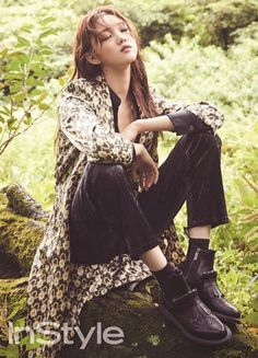"""Lee Sung Kyung, who played the misunderstood, second lead in """"Doctors"""", is shown relaxing in the woods, telling InStyle she needs regular time off for self-healing. Style Ulzzang, Ulzzang Fashion, Ulzzang Girl, Lee Sung Kyung, Kim Bok Joo, Urban Fashion, Womens Fashion, Mysterious Girl, Korean Actresses"""