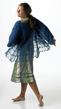 Zito - ponchoblouse. Knitted with drop stitches and felted.