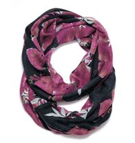 "$18.00 mark. All Around Style Scarf.  In a Wonderfleurly pretty print, our latest infinity scarf goes with endless outfits! 70"" L (loop) x 24"""