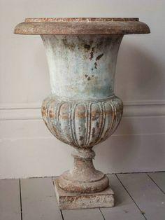 ♕ iron urns ~ gorgeous patina