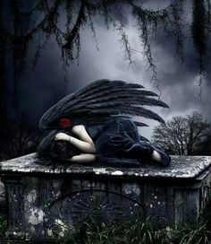 Shared by ♥ Pure Angel ♥. Find images and videos about angel, sadness and Darkness on We Heart It - the app to get lost in what you love. Dark Gothic Art, Gothic Fantasy Art, Fantasy Kunst, Gothic Artwork, Sad Angel, Angel And Devil, Gothic Angel, Gothic Fairy, Imagenes Dark