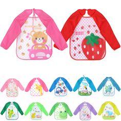 0-3 년 멀티 색상 및 만화 인쇄 긴 소매 방수 커버 아기 동물 유아 스카프 공급 작업복 아기 Todders