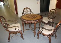 elegant wood round game table and chairs with beautiful carving and details NEW