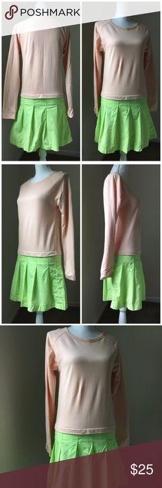 J Crew Crewcuts Peach colorblock dress 16 J Crew Crewcuts Peach and lime green long-Sleeve colorblock dress, 16. EUC. Crewcuts Dresses Casual