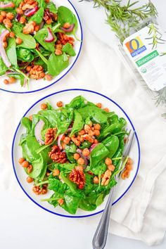 This Warm Spinach Salad with Roasted Rosemary Walnuts and Chickpeas would make…