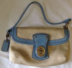Coach Clutch Beige Fabric With Blue Leather Trim Great Deal!!!