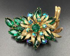 Selini Green Rhinestones AB Gold Spray Brooch - Vintage 1960s, Aurora Borealis, Emerald Green, Glass Stone Brooch, Cocktail Brooch