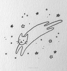20 Easy Cat Drawing Ideas Simple Cat Drawing, Cute Cat Drawing, Cute Little Drawings, Love Drawings, Art Drawings Sketches, Easy Drawings, Animal Drawings, Cat Doodle, Drawing Lessons