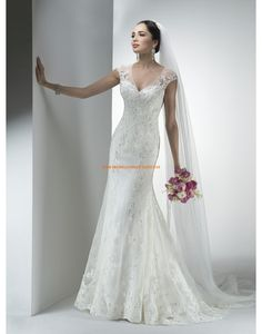 Maggie Sottero Meerjungfrau Elegante Schöne Brautkleider aus Softnetz mit Applikation