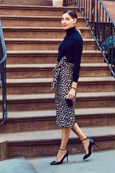 a89e74c8f4 How It s Done  The Leopard Skirt- Read more at our blog. Leopard Skirt  OutfitWhite Sweater ...