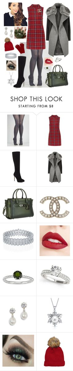 """Holiday Winter Outfit"" by megan-maddalena ❤ liked on Polyvore featuring Topshop, Jimmy Choo, River Island, Coach, Jouer, Bling Jewelry, China Glaze and L.K.Bennett"