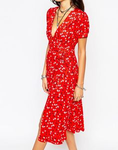 Image 3 of Reclaimed Vintage Midi Tea Dress With Wrap Front In Ditsy Floral