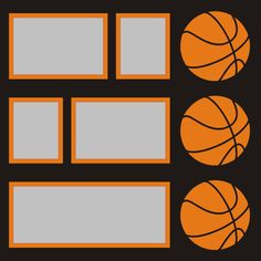 Want2scrap  Basketballs - 12x12 Overlay Scrapbook laser design