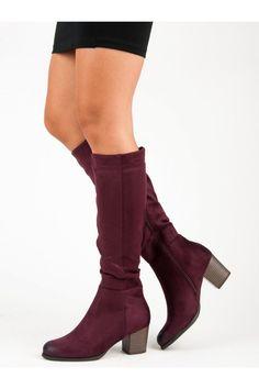 Semišové červené kozačky vysoké čižmy pod koleno VINCEZA HX19-16032BUR Knee Boots, Platform, Outfit, Shoes, Fashion, Outfits, Moda, Zapatos, Shoes Outlet