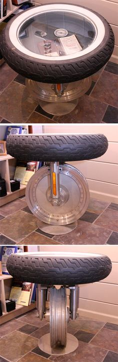 Recycled Harley Davidson parts side table