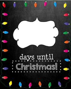 MeGown's Second Grade Safari: Days Until Christmas-Chalkboard Edition (Christmas Countdown Printable) Christmas Math, Days Until Christmas, Christmas Door, Christmas 2014, Christmas Activities, Christmas Countdown, Little Christmas, Christmas Signs, Christmas Printables