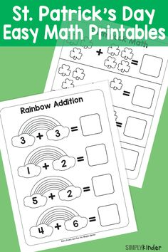 Math Worksheets for Kindergarten Addition and Subtraction or Simple St Patricks Day Math Printables Simply Kinder Preschool Math, Teaching Kindergarten, Math Activities, Kindergarten Addition, Teaching Ideas, Preschool Supplies, Kindergarten Readiness, Preschool Ideas, Math Games