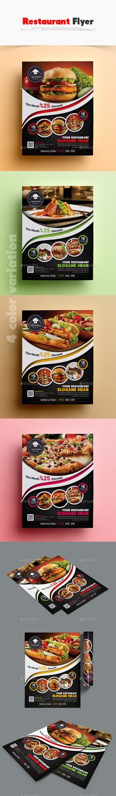 Buy Restaurant Flyer by on GraphicRiver. Details Fully layered Adobe Photoshop 1 Layout Designs 4 color variation Fully layered PSD print size: inc. Brochure Food, Business Brochure, Brochure Design, Flyer Design, Café Design, Restaurant Menu Template, Restaurant Flyer, Restaurant Menu Design, Banners
