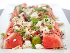 Watermelon Tomato Salad With Feta and Toasted Almonds: Slice rind off ...