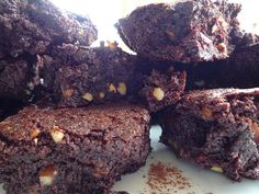 Dark chocolate brownies with sour cherries and nuts