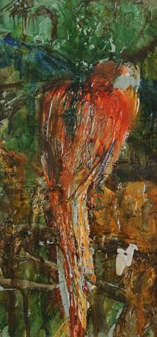 "Gantz, ""Bird 1"", Oil on Cancas, 16x8"", 18x10"", $250"